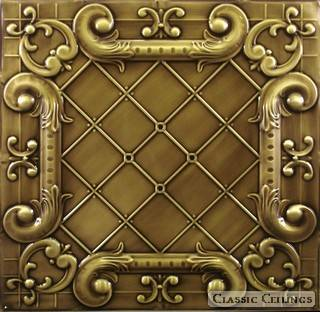 Tin Ceiling Design 502 Antique Plated Brass