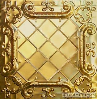 Tin Ceiling Design 502 Plated Steel Brass
